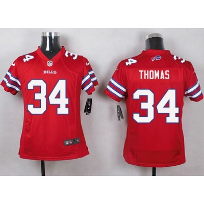 Nike Bills 34 Thurman Thomas Red Youth Stitched NFL Limited Color Rush Jersey