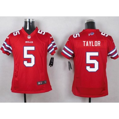 Nike Bills 5 Tyrod Taylor Red Youth Stitched NFL Limited Color Rush Jersey
