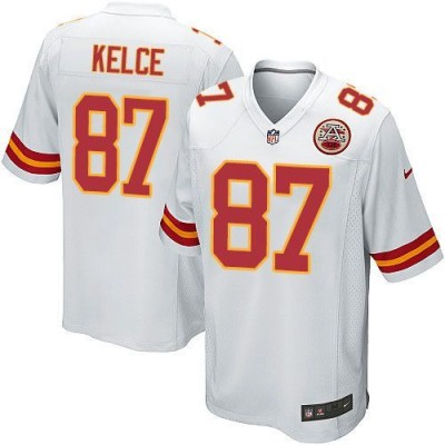 Nike Chiefs 87 Travis Kelce White Youth Stitched NFL Elite Jersey