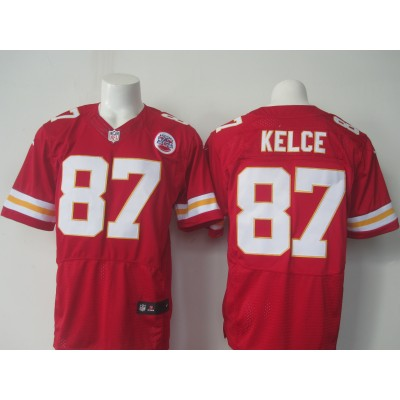 Nike Chiefs 87 Travis Kelce Red Team Color Stitched NFL Elite Jersey