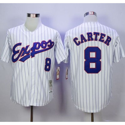 MLB Expos 8 Gary Carter White(Black Strip) Throwback 1982 Mitchell And Ness Men Jersey