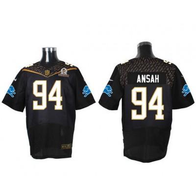 Detroit Lions 94 Ezekiel Ansah Black 2016 Pro Bowl Team Irvin Nike Elite Jersey
