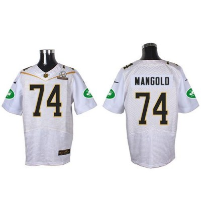 Nike Jets 74 Nick Mangold White 2016 Pro Bowl Team Rice Mens Stitched NFL Elite Jersey