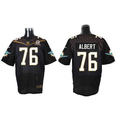 Nike Dolphins 76 Branden Albert Black 2016 Pro Bowl Team Irvin Mens Stitched NFL Elite Jersey