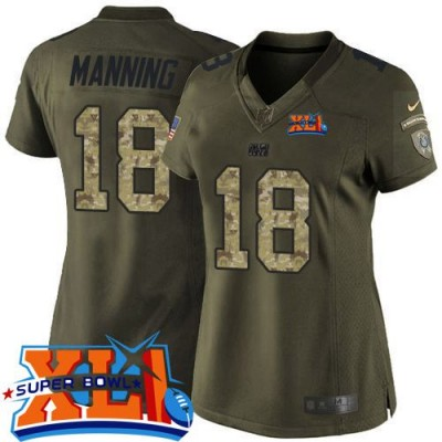 Nike Colts 18 Peyton Manning Green Super Bowl XLI Women NFL Limited Salute to Service Jersey