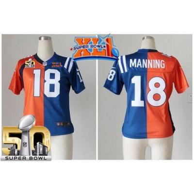 Nike Broncos 18 Peyton Manning Orange Blue Super Bowl XLI & 50 Women NFL Elite Split Colts Jersey