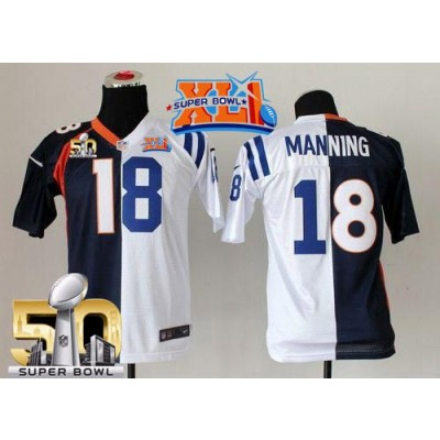 Nike Broncos 18 Peyton Manning Blue White Super Bowl XLI & 50 Youth NFL Elite Split Colts Jersey