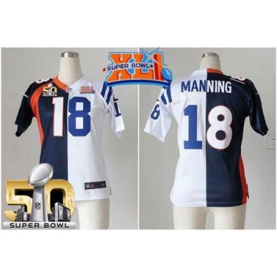Nike Broncos 18 Peyton Manning Blue White Super Bowl XLI & 50 Women NFL Elite Split Colts Jersey