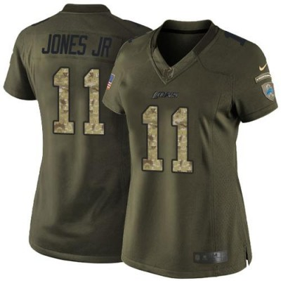 Nike Lions 11 Marvin Jones Jr Green Women Stitched NFL Limited Salute to Service Jersey
