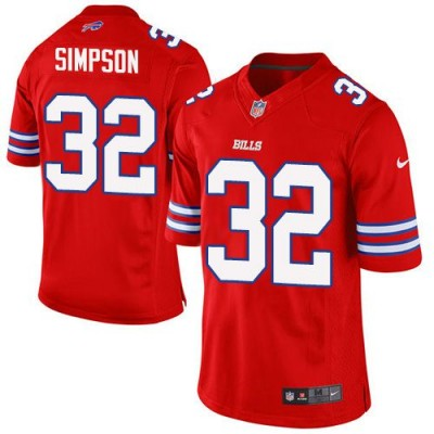 Nike Bills 32 O. J. Simpson Red Youth Stitched NFL Limited Color Rush Jersey