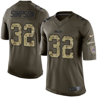 Nike Bills 32 O. J. Simpson Green Youth Stitched NFL Limited Salute to Service Jersey