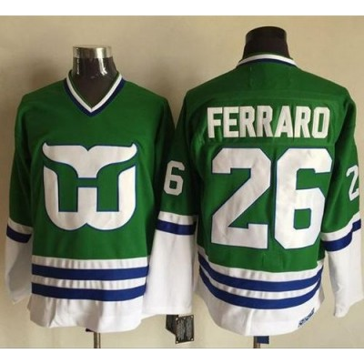 NHL Whalers 26 Ray Ferraro Green CCM Throwback Men Jersey