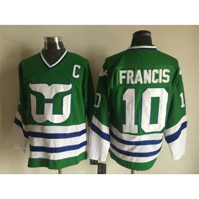NHL Whalers 10 Ron Francis Green Throwback Men Jersey