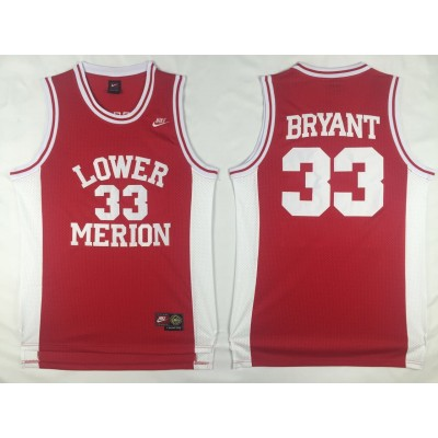 High School Lower Merion 33 Kobe Bryant Red High School Lower Merion Men Basketball Jersey