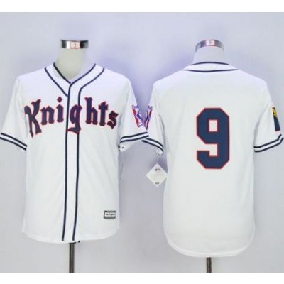 New York Knights The Natural 9 Roy Hobbs White Movie Stitched Baseball Jersey