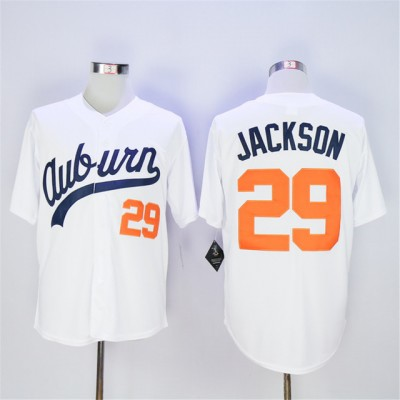 NCAA Auburn Tigers 29 Bo Jackson White Throwback Men Jersey