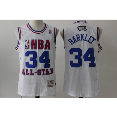 NBA 76ers 34 Charles Barkley White 2003 All Star Hardwood Classics Men Jersey