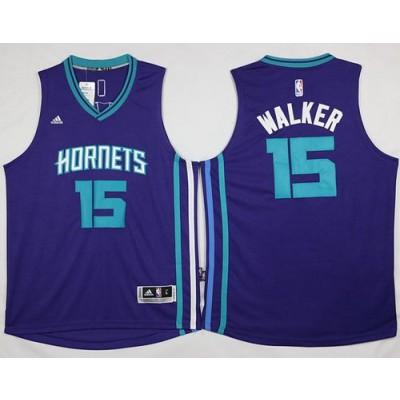 NBA Hornets 15 Kemba Walker Purple Revolution 30 Men Jersey