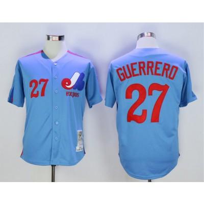 MLB Expos 27 Vladimir Guerrero Light Blue 2000 Throwback Men Jersey