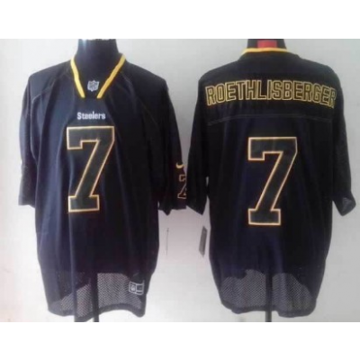 Nike Pittsburgh Steelers No.7 Ben Roethlisberger Lights Out Black Elite Nike Jersey
