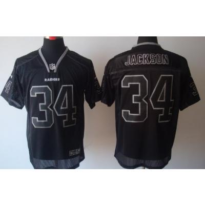 Nike Oakland Raiders No.34 Bo Jackson Lights Out Black Elite Jersey