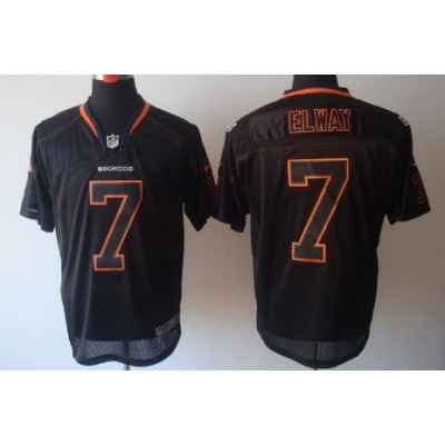 Nike Denver Broncos No.7 John Elway Lights Out Black Elite NFL Jersey