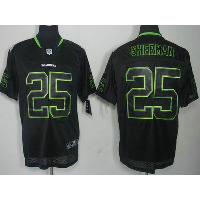 Nike Seattle Seahawks No.25 Richard Sherman Lights Out Black Embroidered Elite Jersey