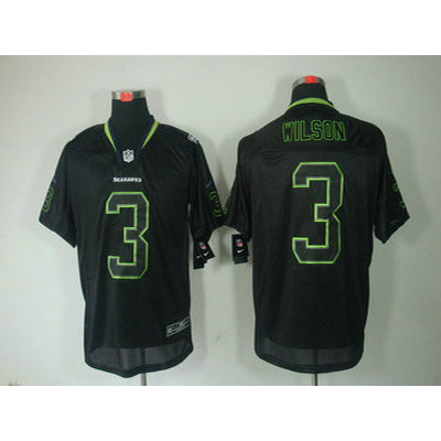 Nike Seattle Seahawks No.3 Russell Wilson Lights Out Black Mens Football Elite Jersey