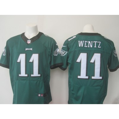 Nike Eagles 11 Carson Wentz Midnight Green Men NFL Elite Jersey