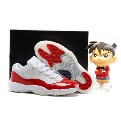 Air Jordan 11 Retro Low CHERRY Shoes White and Varsity Red