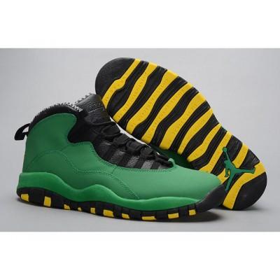 Air Jordan 10 Retro Shoes Green Black Yellow