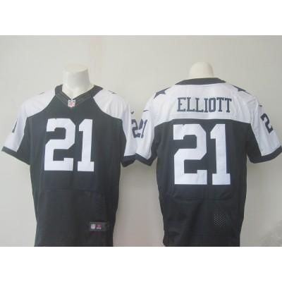 Nike Cowboys 21 Ezekiel Elliott Navy Blue Thanksgiving Men 2016 Draft Throwback Elite Jersey