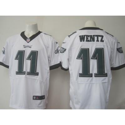 Nike Eagles 11 Carson Wentz White Men 2016 NFL Draft New Elite Jersey