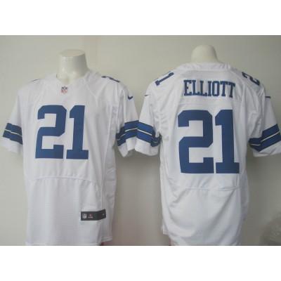 Nike Cowboys 21 Ezekiel Elliott White Men 2016 NFL Draft Elite Jersey