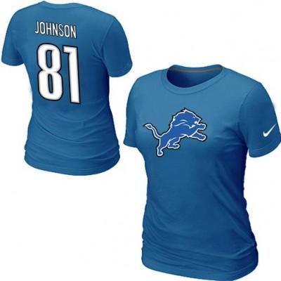 Women Nike Detroit Lions 81 Calvin Johnson T-Shirt Blue
