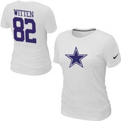 Women Nike Dallas Cowboys 82 Jason Witten T-Shirt White