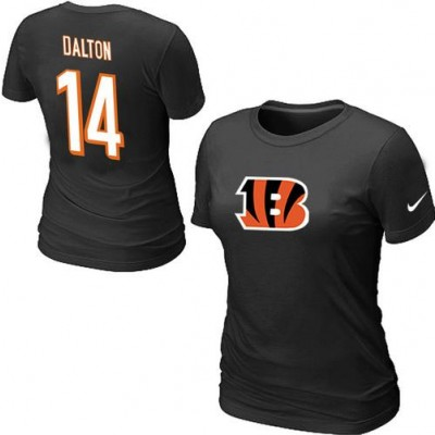 Women Nike Cincinnati Bengals 14 Andy Dalton T-Shirt Black