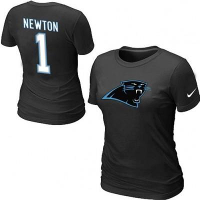 Women Nike Carolina Panthers 1 Cam Newton T-Shirt Black