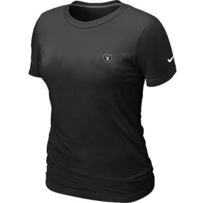 Women Nike Oakland Raiders Chest Embroidered Logo T-Shirt Black