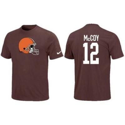 Nike Cleveland Browns 12 Colt McCoy NFL T-Shirt Brown