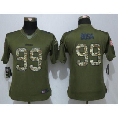 Nike Chargers 99 Joey Bosa Green Salute To Service Women Jersey