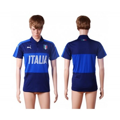 Italy Blue Soccer Polo Shirts