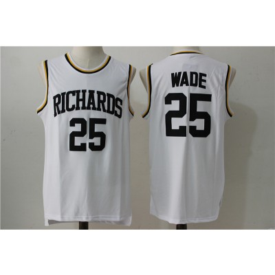 High School Richardson 25 Dwyane Wade White Basketball Men Jersey