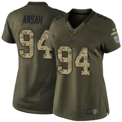 Nike Lions 94 Ziggy Ansah Green Women NFL Salute to Service Jersey
