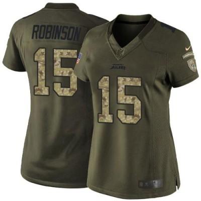 Nike Jaguars 15 Allen Robinson Green Women NFL Salute to Service Jersey