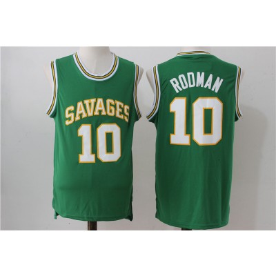 High School Oklahoma Savages 10 Dennis Rodman Green Men Jersey