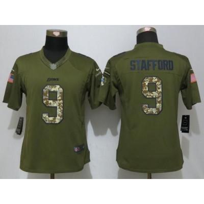 NFL Nike Lions 9 Matthew Stafford Green Salute To Service Women Jersey