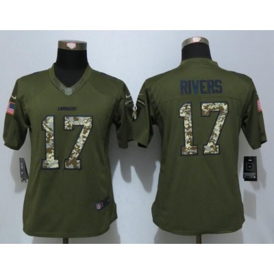 NFL Nike Chargers 17 Philip Rivers Green Salute To Service Women Jersey