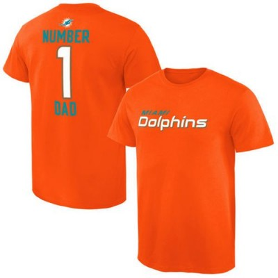 NFL Miami Dolphins Pro Line Number 1 Dad T-Shirt Orange