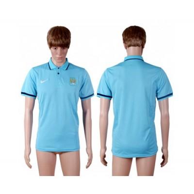 Soccer Club Manchester City Blank Blue Polo T-shirt